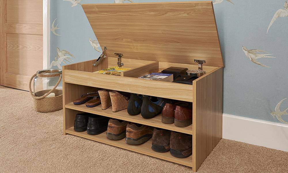 shoe storage cabinet rack oak effect wooden hallway. Black Bedroom Furniture Sets. Home Design Ideas