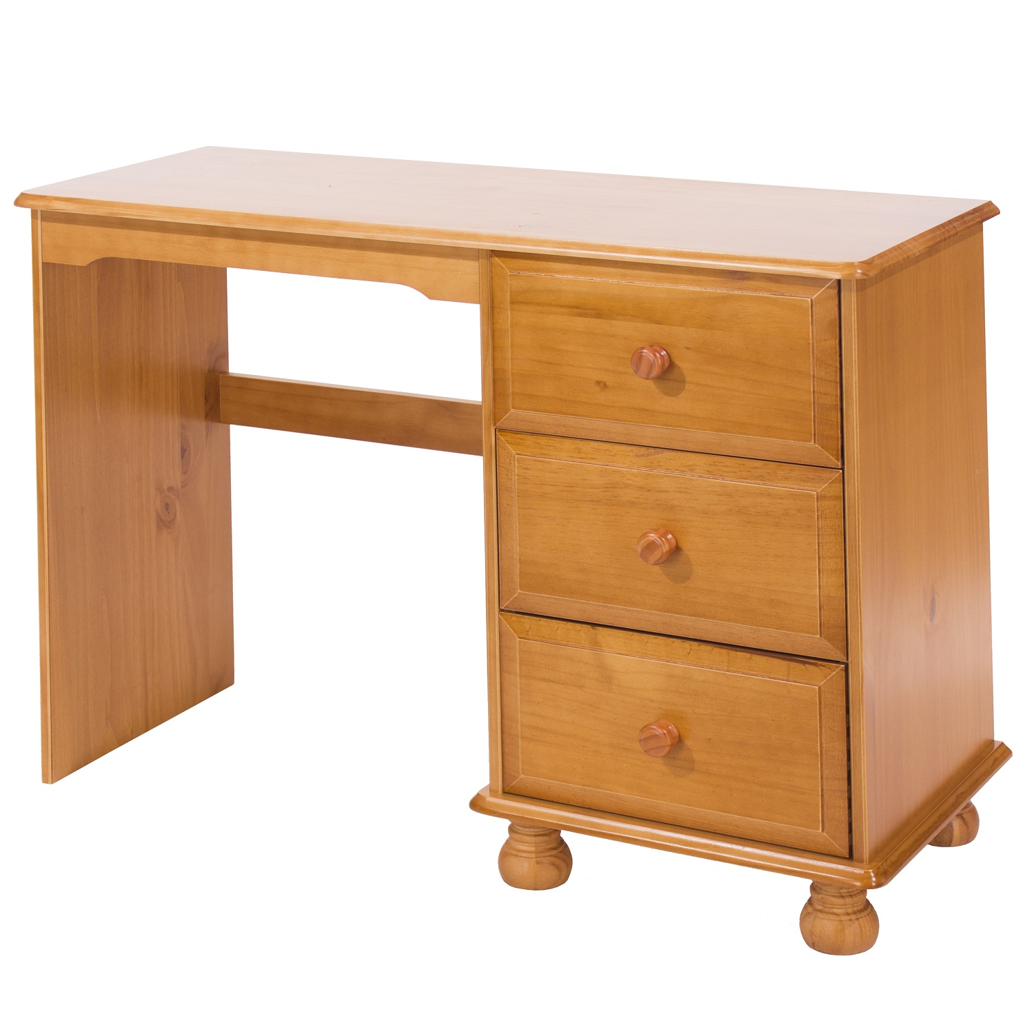 Solid pine victorian style single pedestal dressing table for Single dressing table