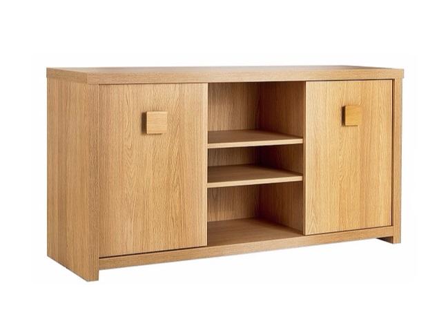 Oak TV Stand or Low Sideboard 2 Door 3 Cupboard Shelf  -> Low Sideboard Tv Cabinet