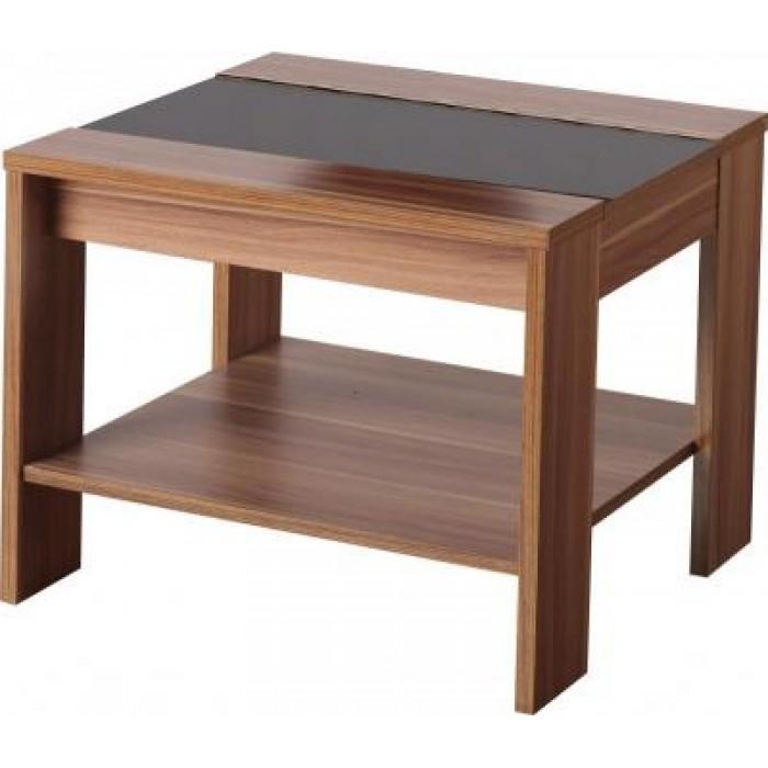 Lamp table walnut veneer black gloss side end coffee table - Black lamp tables for living room ...
