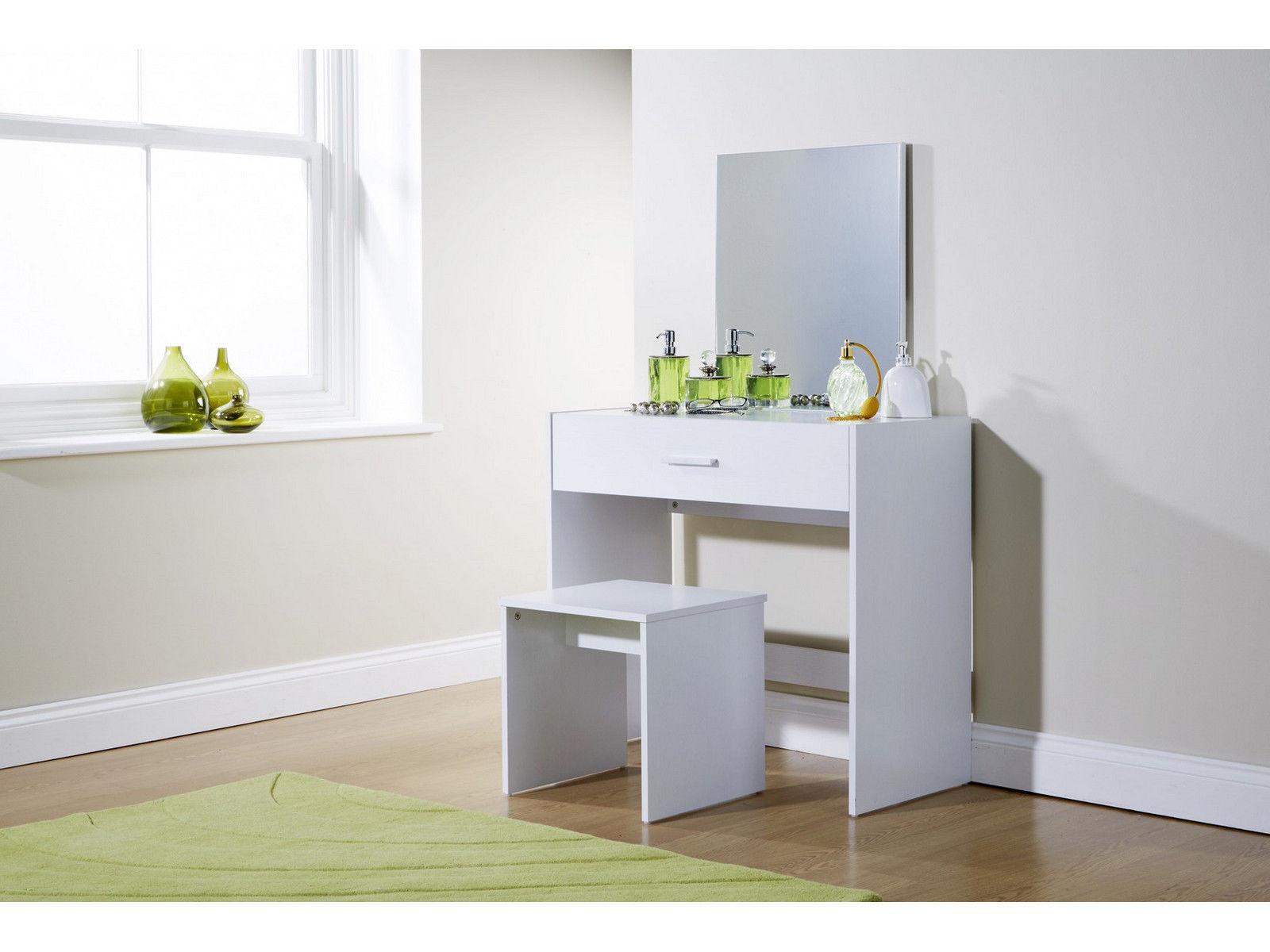 Julia vanity dressing table with stool mirror white oak dark 1 drawer dresser ebay - White vanity dressing table ...