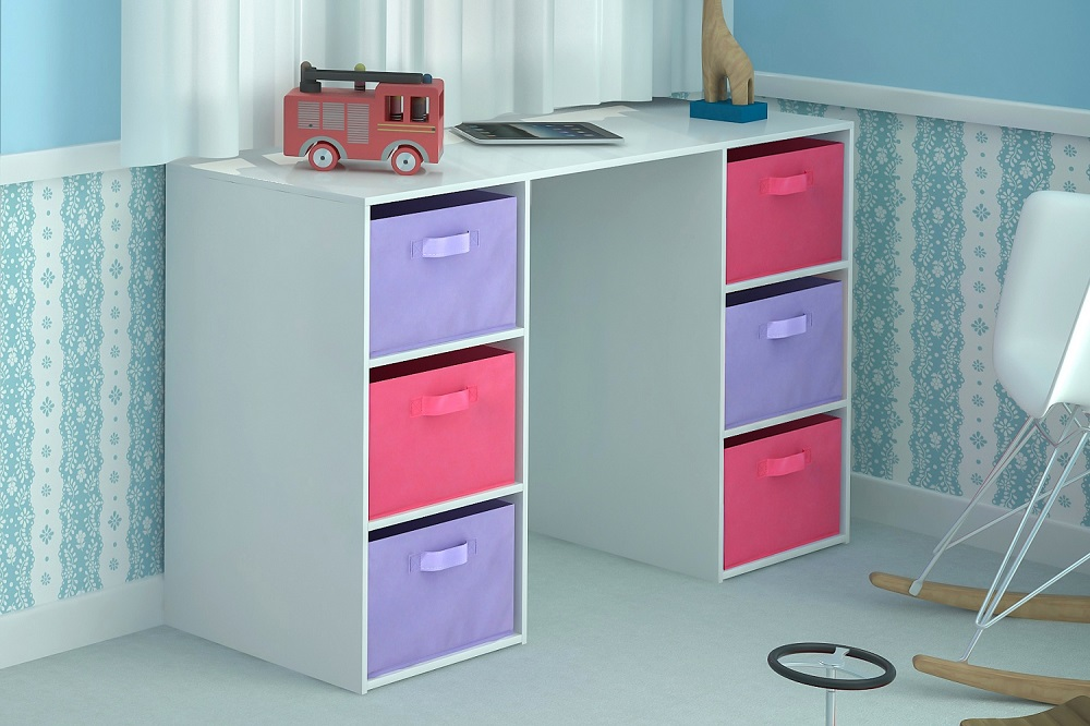 Kids Storage Bench Furniture Toy Box Bedroom Playroom: Kids Desk Toy Storage 6 Canvas Drawers For Children's