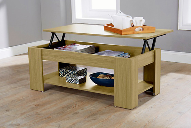 oak lift up top coffee table with storage shelf modern occasional seconds ebay. Black Bedroom Furniture Sets. Home Design Ideas
