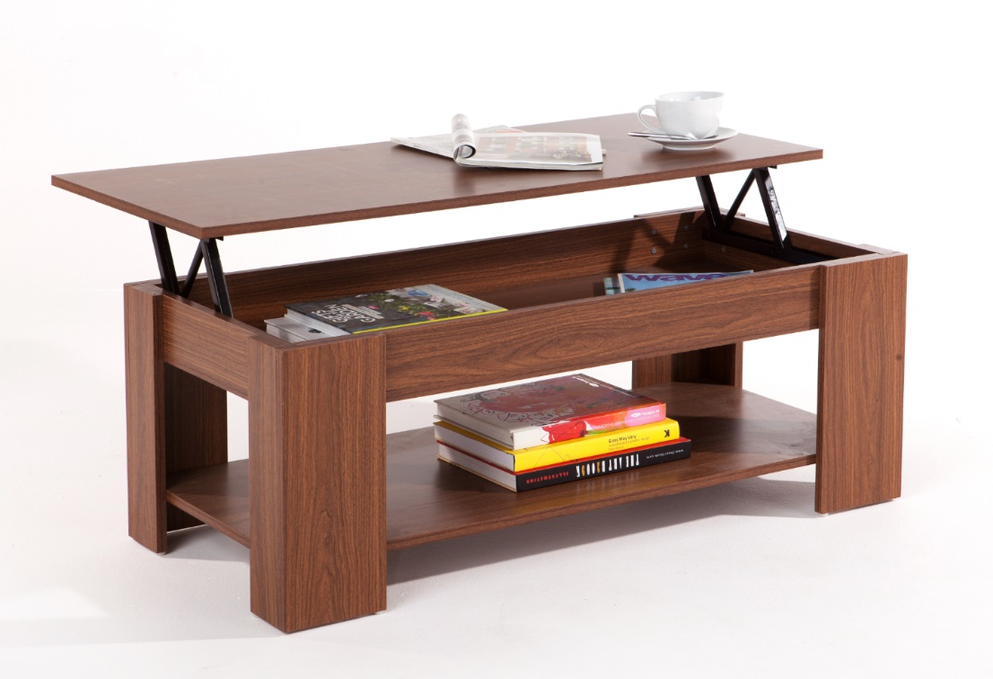 Walnut Lift Up Top Coffee Table With Storage Shelf Modern Occasional Table Ebay