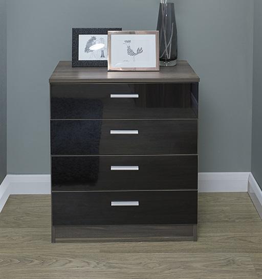 Chest Of Drawers Black Gloss Walnut Bedroom Furniture 4 Drawer Melbourne Ebay