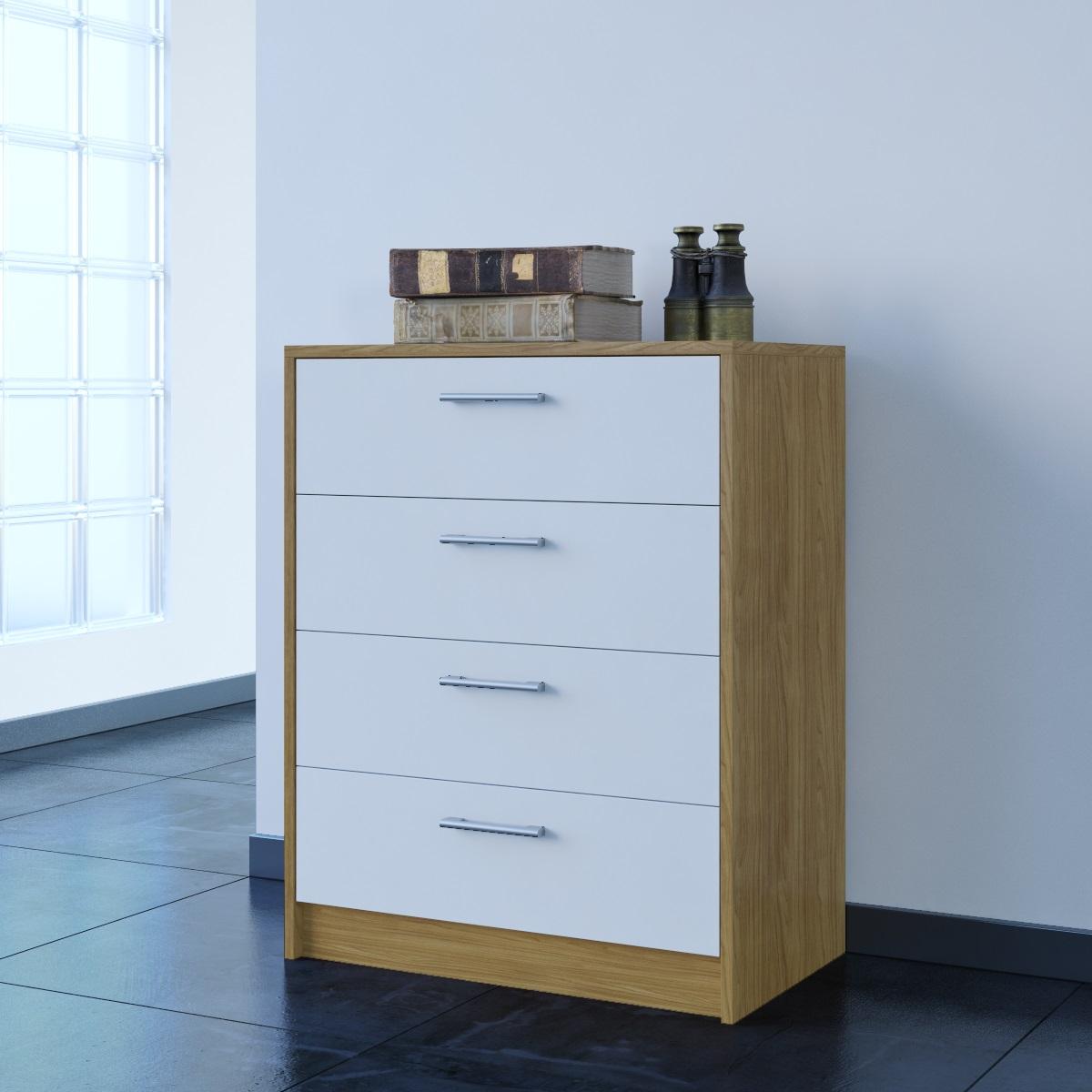 Chest of 4 drawers oak white gloss bedroom furniture range for Bedroom 4 drawer chest