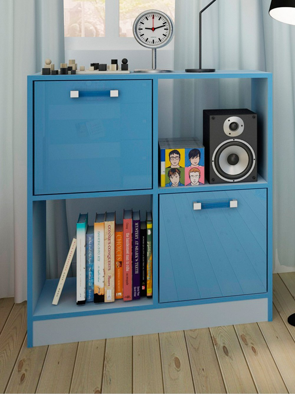 Kids Blue Toy Storage Unit 4 Cube Bedroom Bookcase 2
