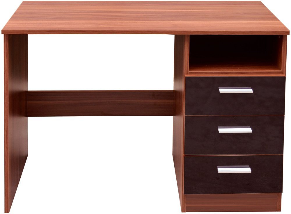 Computer desk walnut black gloss 3 drawers open storage - Walnut office desk ...