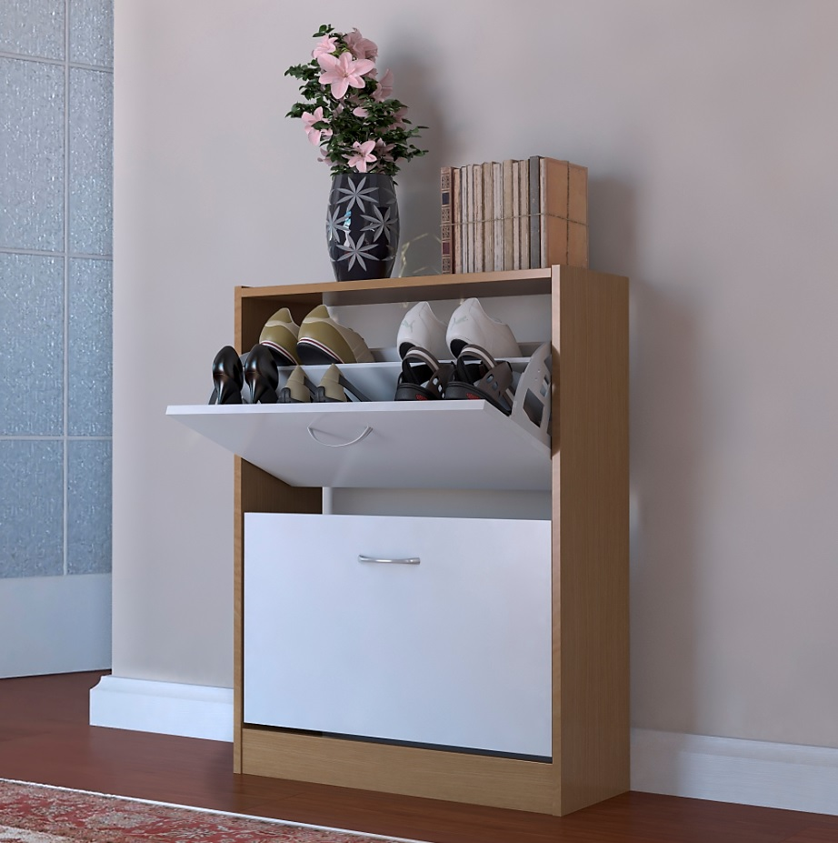 Two Tone Kitchen Cabinets White And Oak: Shoe Cupboard White Oak Two Tone 2 Door Pull Down Cabinet