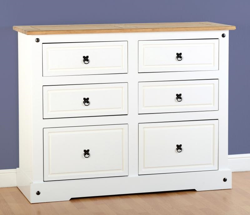 White Corona Pine Chest Of 6 Drawers Two Tone Mexican Solid Wood Wide Chest